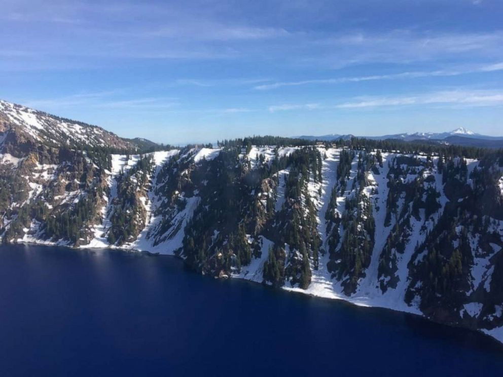 PHOTO: Aerial view of the caldera of Crater Lake National Park near Rim Village Crater Lake National Park, Oregon, June 10, 2019.