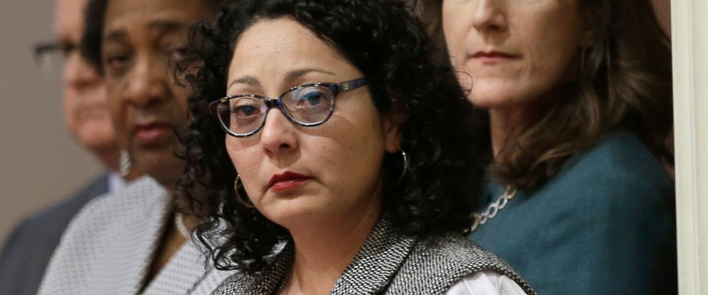 PHOTO: Cristina Garcia listens as members of the womens caucus in the state Senate read a letter from the victim in a sexual assault, June 13, 2016, at the Capitol in Sacramento, Calif.