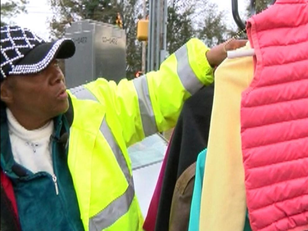 PHOTO: Coats were passed out to children on their way to school by Minnie Galloway, in Wilmington, N.C.