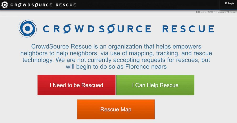 PHOTO: If you are stranded in the midst of Hurricane Florence and cant reach rescuers, this app might be able to get you help.