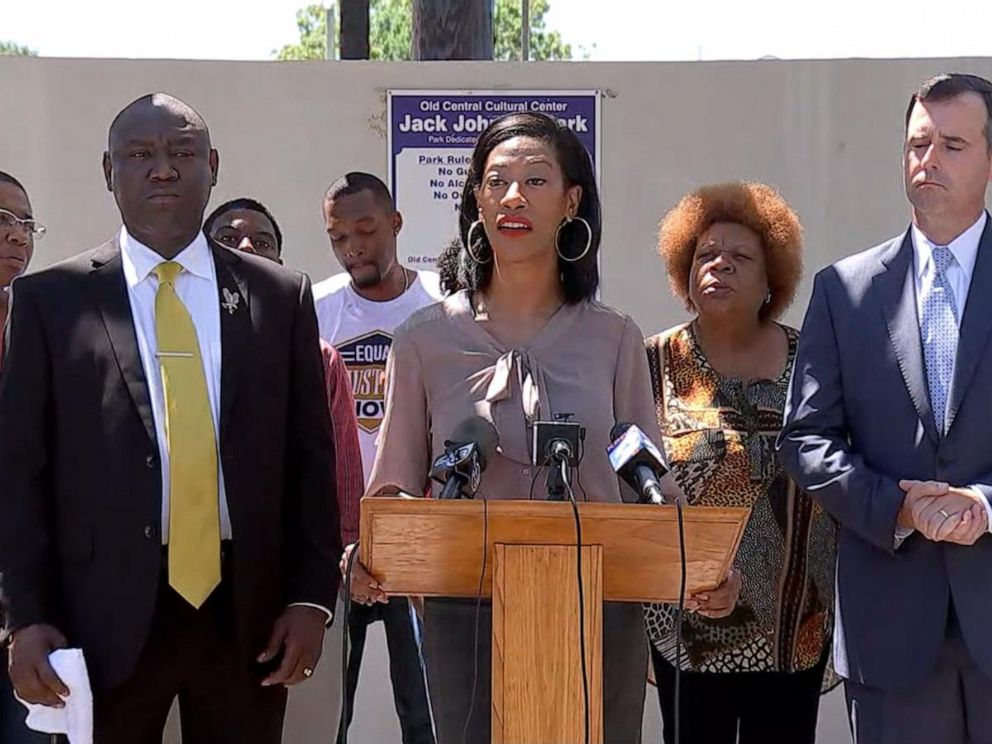 PHOTO: Donald Neelys civil attorney Benjamin Crump is seen second from left and his defense attorney Melissa Morris speaks at the podium. Both are calling for video from Neelys arrest to be released.
