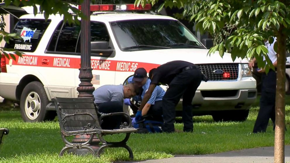 PHOTO: Authorities found more than two dozen people suffering from apparent overdoses at the New Haven Green in New Haven, Connecticut, Aug. 15, 2018.
