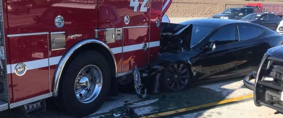 "PHOTO: Culver City Firefighters tweeted this photo Jan. 22, 2018 with the caption, ""While working a freeway accident this morning, Engine 42 was struck by a Tesla traveling at 65 mph..."""