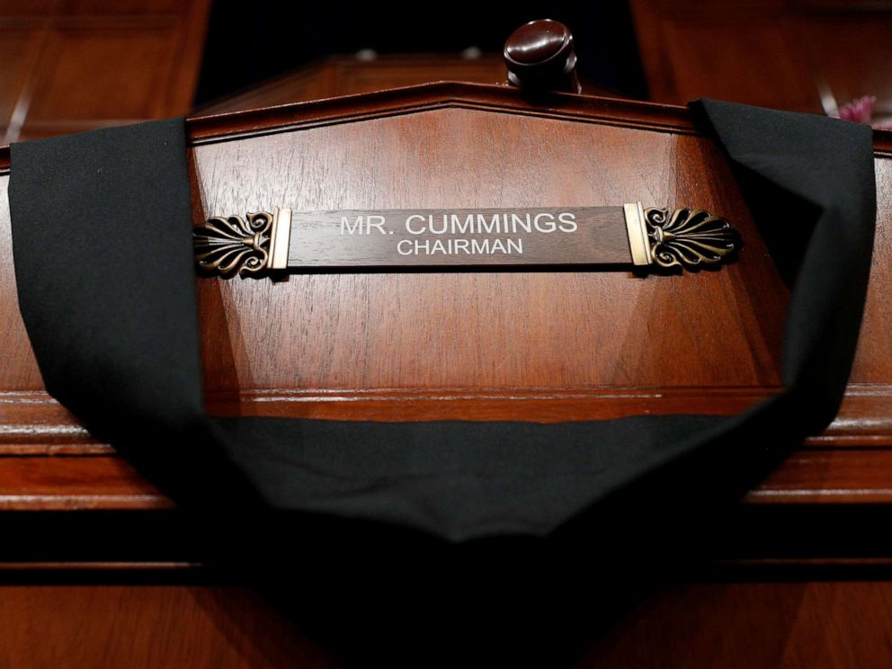 PHOTO: The House Committee on Oversight and Reform room displays a memorial for deceased committee Chairman Rep. Elijah Cummings on Capitol Hill, in Washington, Oct. 17, 2019.