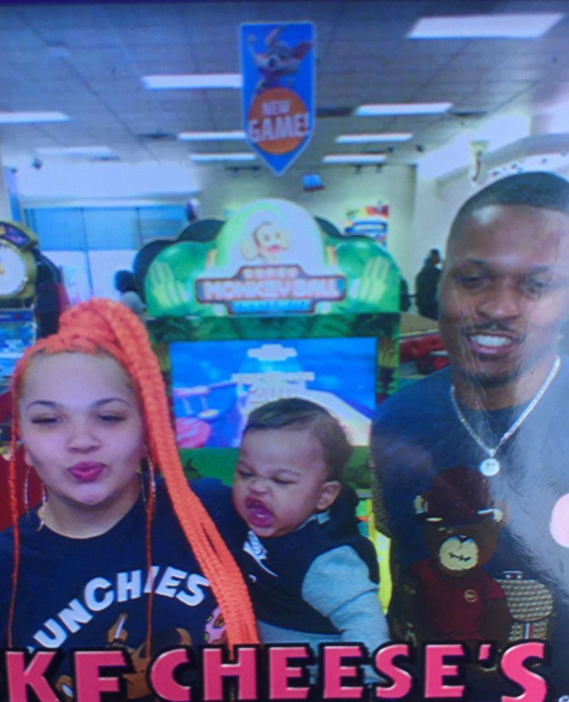 PHOTO: Rashad Cunningham and his girlfriend, Heather Fox, pose with their 1-year-old son at a Chuck E Cheese.