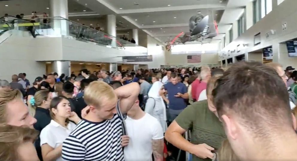 PHOTO: The customs line at Dulles International Airport is seen here.