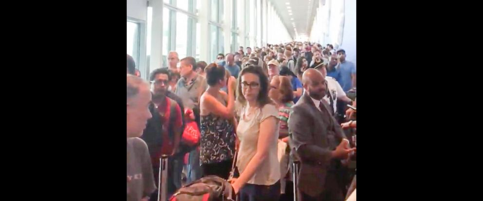PHOTO: The customs line at JFK airport is seen here.