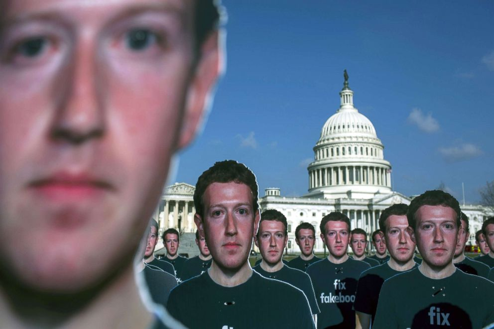 PHOTO: The advocacy group, Avaaz, placed 100 life-sized cutouts of Facebook CEO Mark Zuckerberg on the lawn of the U.S. Capitol, April 10, 2018, in Washington.