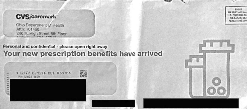 PHOTO: An scan of the envelope mailed to CVS customers showing their HIV status on the front is pictured in official court documents.