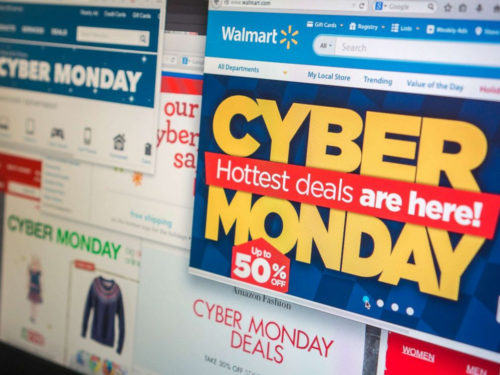PHOTO: A collection of websites tout their Cyber Monday sales on Monday, Dec. 1, 2014.