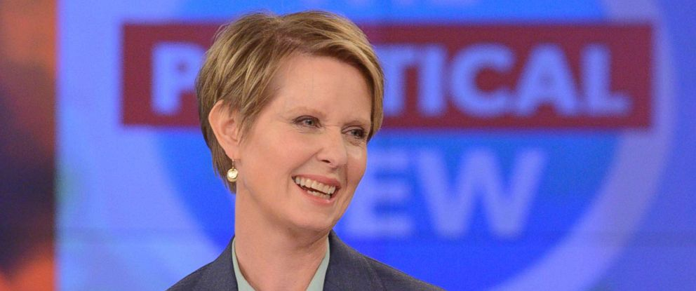 "PHOTO: Cynthia Nixon visits ""The View"" on the ABC television network, June 21, 2018."