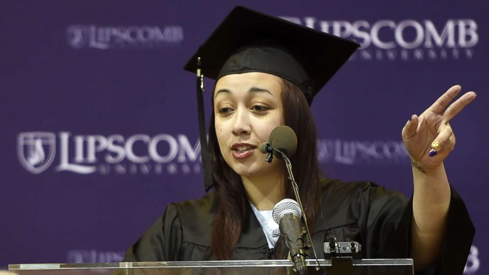 In this Dec. 18, 2015 photo, inmate Cyntoia Brown of the Tennessee Prison for Women delivers a commencement address before receiving her associate degree from Lipscomb University.