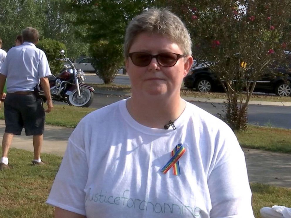 PHOTO: Crystal Smith speaks about her son, Channing Smith, 16, during a vigil in Coffee County, Tennessee.