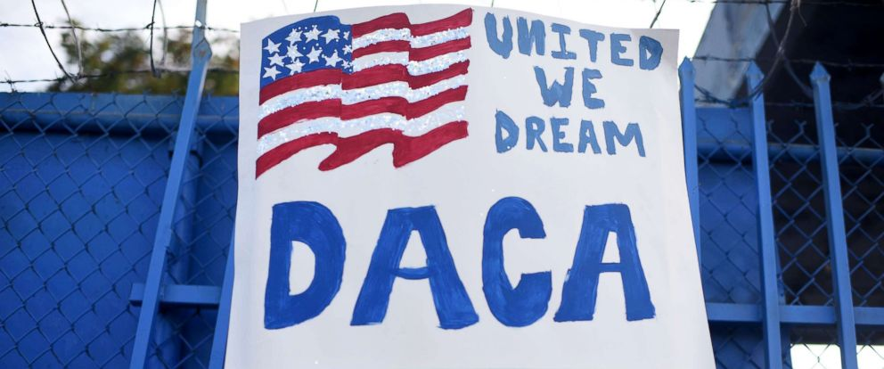 PHOTO: DACA recipient and appliance repair business owner Erick Marquez attends a protest in support of DACA (Deferred Action for Childhood Arrivals) in Los Angeles, Sept. 10, 2017.