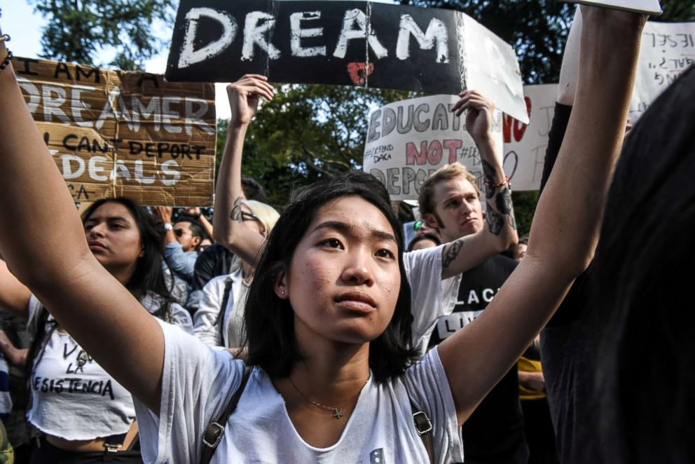 People participate in a protest in defense of the Deferred Action for Childhood Arrivals program or DACA in New York, NY, Sept. 9, 2017.