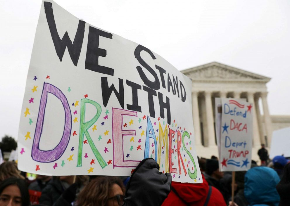 PHOTO: Demonstrators rally outside the U.S. Supreme Court as justices were scheduled to hear oral arguments regarding the Trump administration bid to end the Deferred Action for Childhood Arrivals (DACA) program in Washington, Nov. 12, 2019.