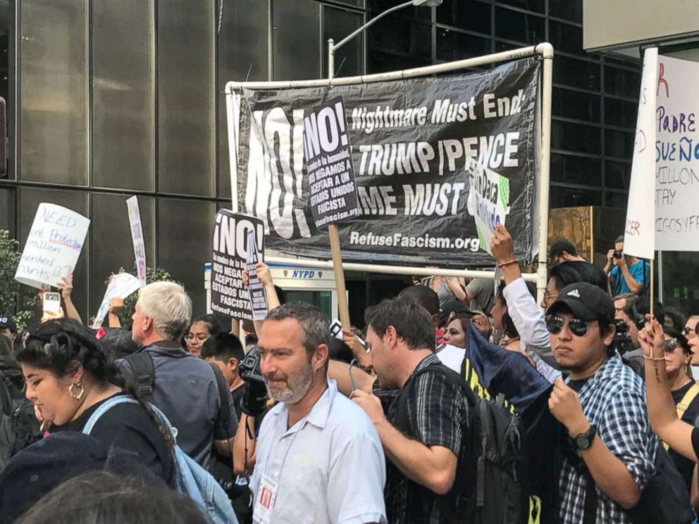 PHOTO: Protesters outside Trump Tower in New York City on Tuesday after the Trump administration announced a plan to phase out DACA.