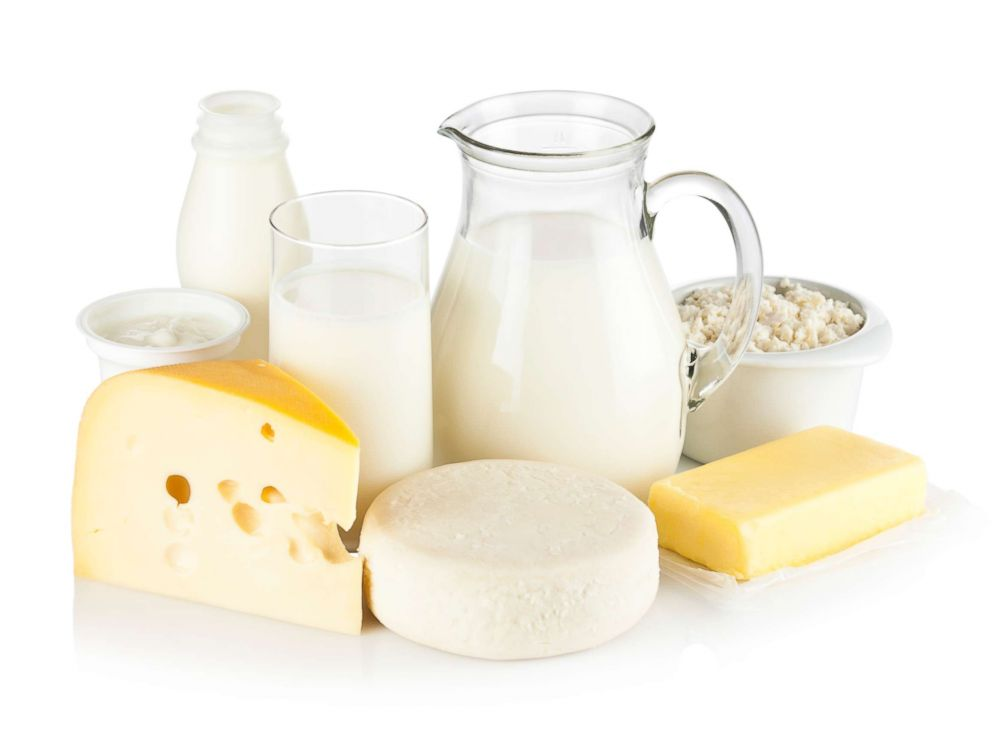 PHOTO: An undated stock photo with milk, cheeses, butter, ricotta, milk cream and yogurt.