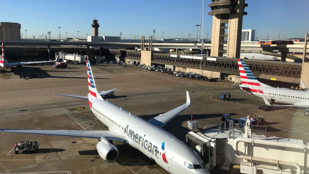 An American Airlines plane sits at the gate at Dallas Fort Worth International Airport, Oct. 17, 2017.