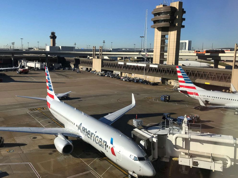 PHOTO: An American Airlines plane sits at the gate at Dallas Fort Worth International Airport, Oct. 17, 2017.