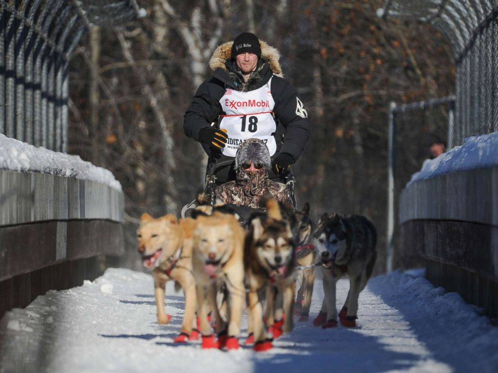 PHOTO: Dallas Seavey mushes during the ceremonial start of the Iditarod Trail Sled Dog Race in Anchorage, Alaska in this March 4, 2017 file photo.