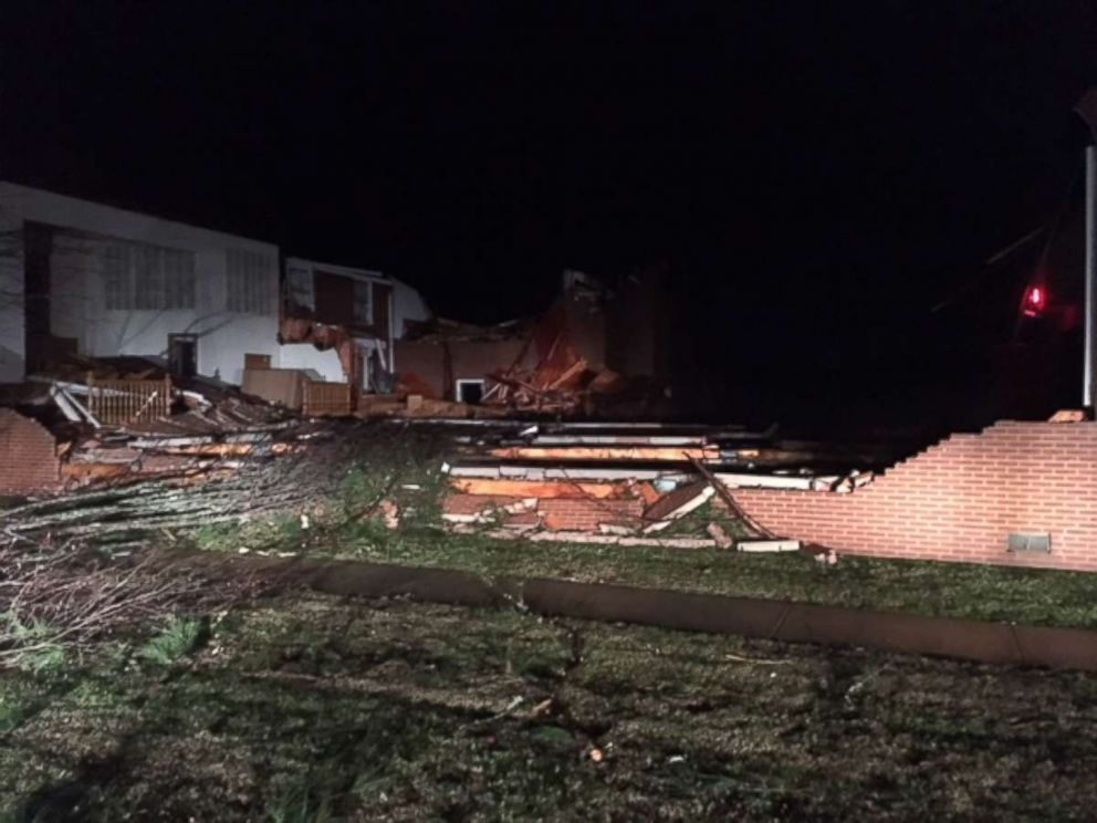 A church in Jacksonville, Alabama, was severely damaged by the recent storm.