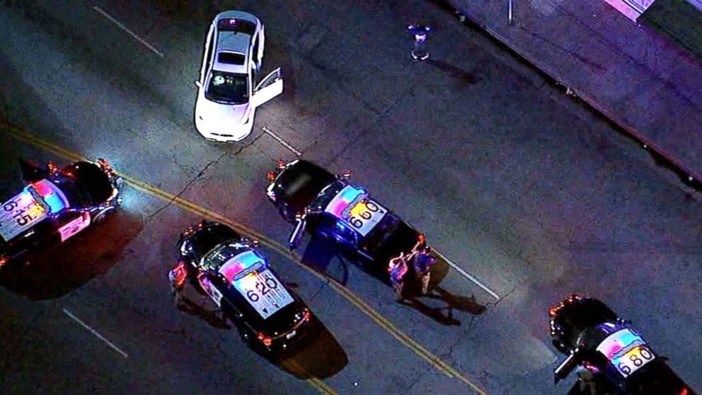 The chase began after the driver failed to yield to commands to stop by California Highway Patrol officers.