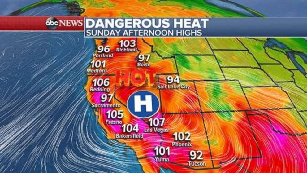 Dangerous heat, over 100 degrees in places in inland California, is in place for Sunday afternoon.