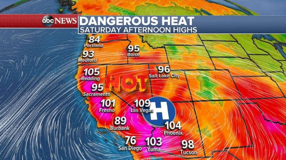 Temperatures will be in the 90s and even over 100 degrees in Central California on Saturday.