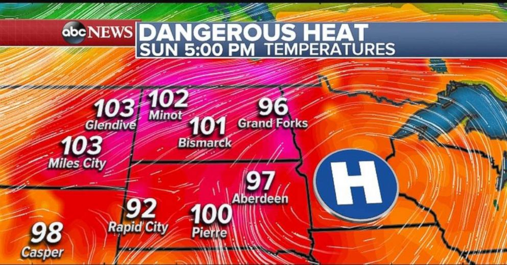 Temperatures will be close to record-setting in the Northern Plains again on Sunday.