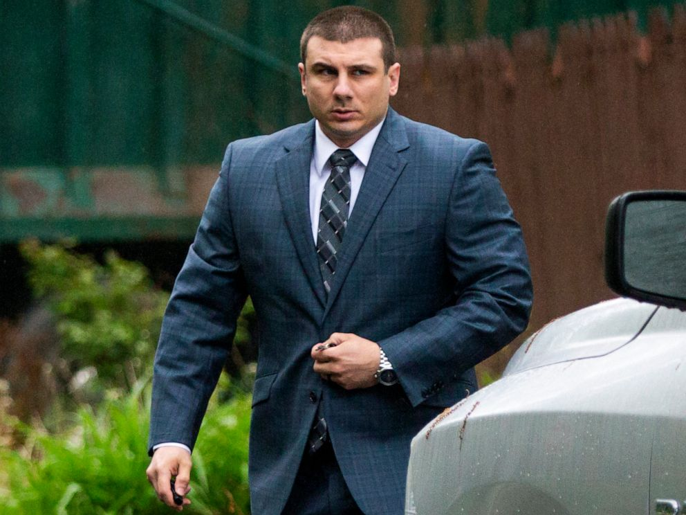 PHOTO: New York City police officer Daniel Pantaleo leaves his house in Staten Island, N.Y., on May 13, 2019.