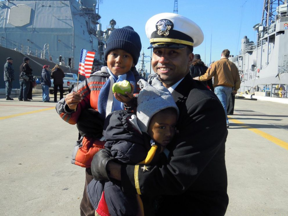 PHOTO: Naval officer Lt. Daniel Wade with two of his three sons in a family photo.