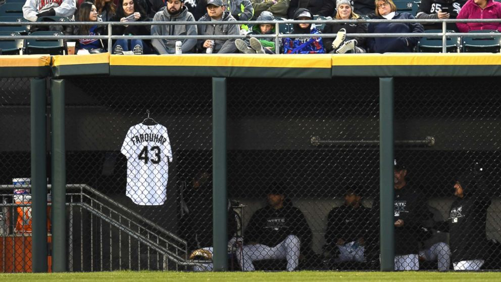 Chicago White Sox relief pitcher Danny Farquhar's jersey is seen hanging in the outfield dugout during a game between the and the Houston Astros the Chicago White Sox on April 21, 2018, at Guaranteed Rate Field, in Chicago, IL.