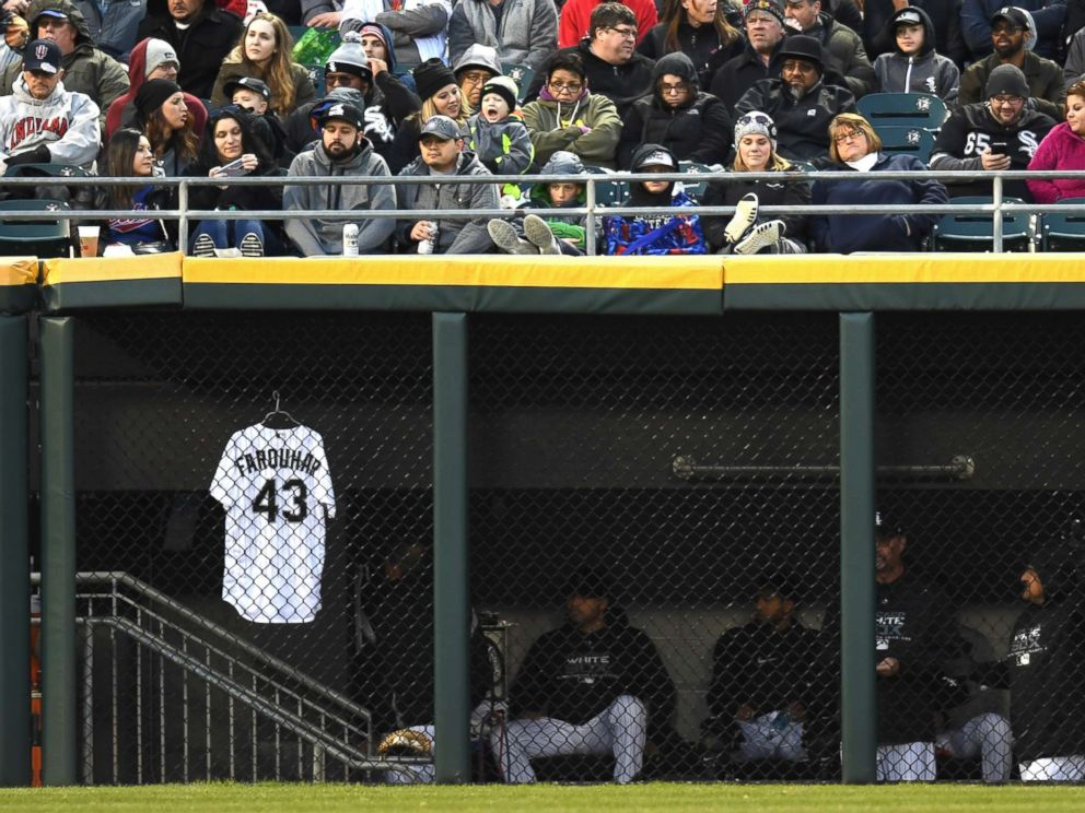 PHOTO: Chicago White Sox relief pitcher Danny Farquhars jersey is seen hanging in the outfield dugout during a game between the and the Houston Astros the Chicago White Sox on April 21, 2018, at Guaranteed Rate Field, in Chicago, IL.