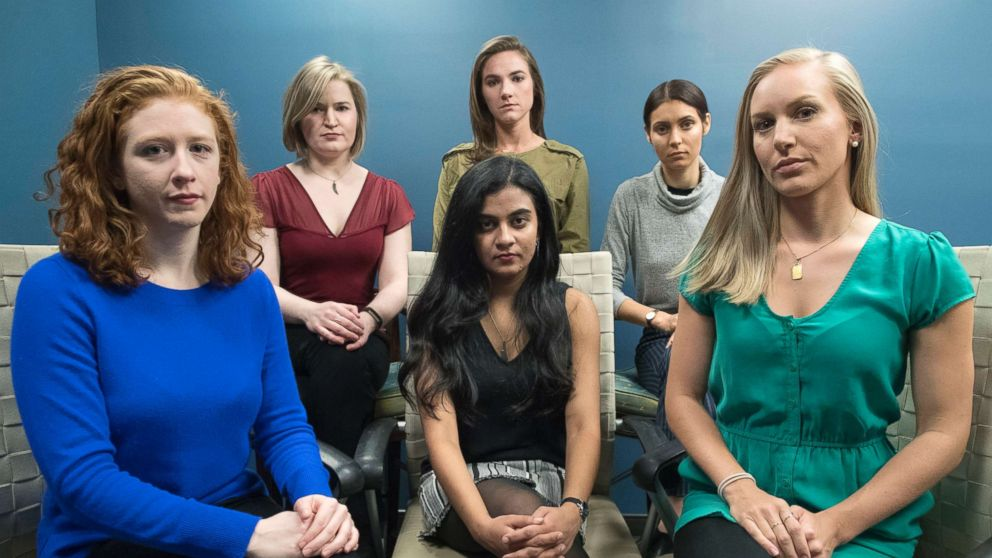 From left back row, Annemarie Brown, Andrea Courtney, and Marissa Evansin, and front row from left, Sasha Brietzke, Vassiki Chauhan, Kristina Rapuano, are the women who filed a lawsuit against Dartmouth College for allegedly allowing three professors to create a culture in their department that encouraged drunken parties and subjected female graduate students to harassment, groping and sexual assault.