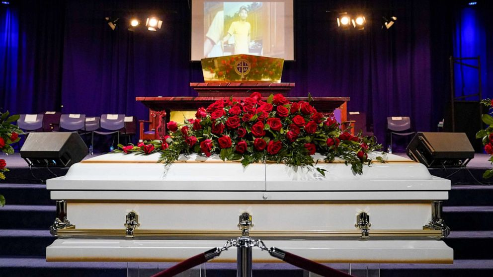PHOTO: The casket of Daunte Wright rests in place before funeral services at Shiloh Temple International Ministries in Minneapolis, April 22, 2021.