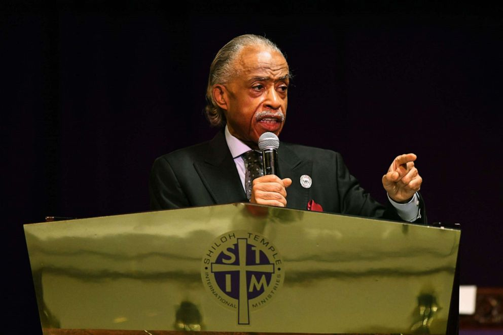 PHOTO: Rev. Al Sharpton speaks during a funeral held for Daunte Wright at Shiloh Temple International Ministries on April 22, 2021, in Minneapolis.