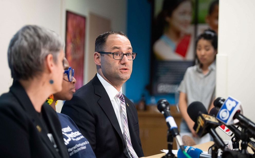 PHOTO: David Eisenberg, medical director for Planned Parenthood of the St. Louis Region, speaks during a press conference at the Planned Parenthood Reproductive Health Services Center in St. Louis, May 31, 2019.