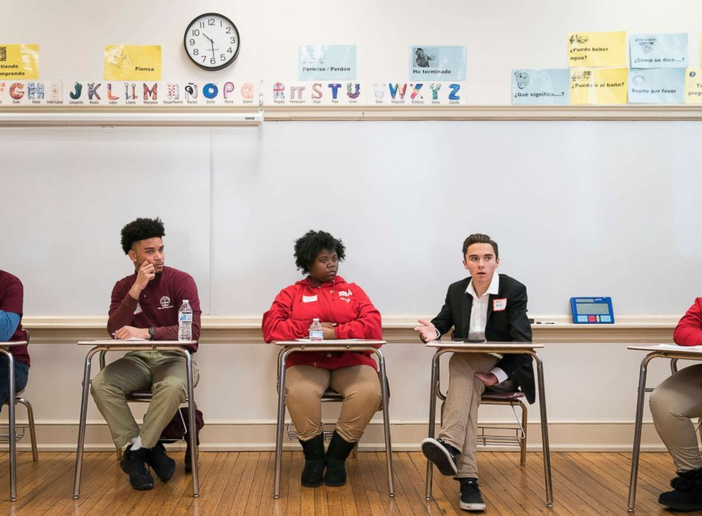 PHOTO: David Hogg, a Marjory Stoneman Douglas student and activist, speaks with students about activism in the face of gun violence at Thurgood Marshall Academy in Washington, March 22, 2018.