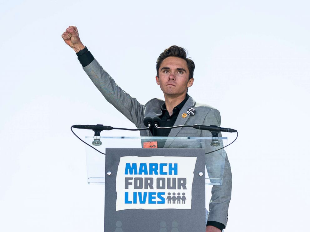 PHOTO: David Hogg, a survivor of the school shooting at Marjory Stoneman Douglas High School, speaks at the March For Our Lives in Washington, March 24, 2018.