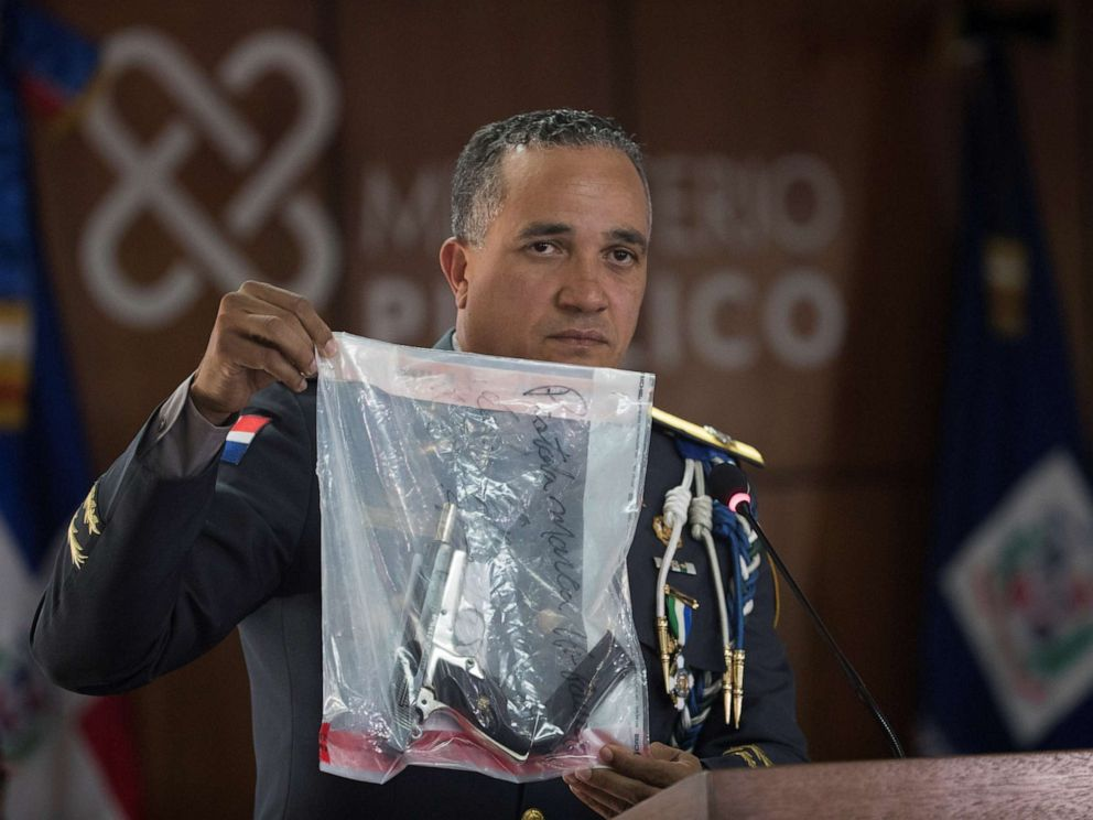 PHOTO: Director of the Dominican National Police Ney Aldrin Bautista Almonte shows the gun that was used to shoot the David Ortiz, during a press conference in Santo Domingo, Dominican Republic, June 12, 2019.