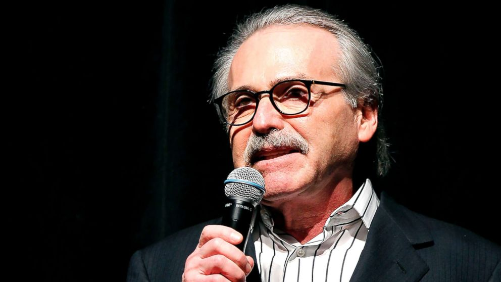 David Pecker, Chairman and CEO of American Media, which publishes the National Enquirer, addresses attendees at Party in New York, Aug. 21, 2018.