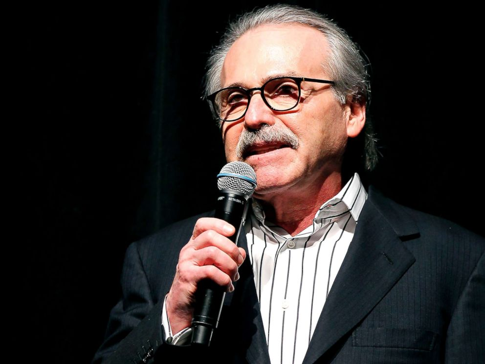 PHOTO: David Pecker, Chairman and CEO of American Media, which publishes the National Enquirer, addresses attendees at Party in New York, Aug. 21, 2018.