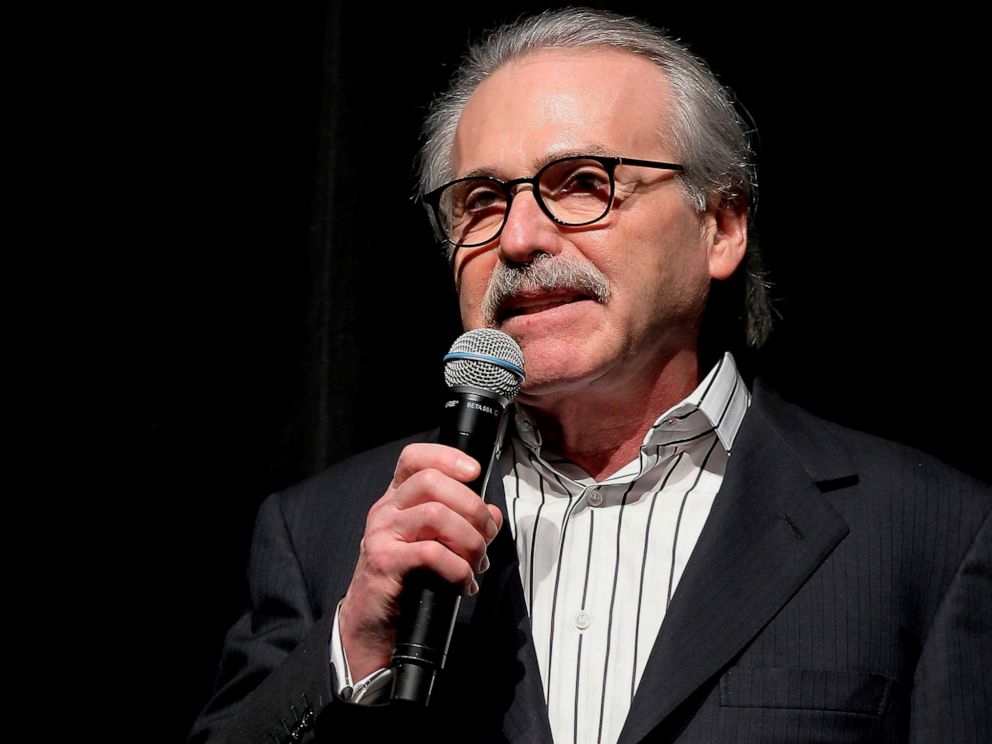 PHOTO: In this Jan. 31, 2014 photo, David Pecker, chairman and CEO of American Media, addresses those attending the Shape & Mens Fitness Super Bowl Party in New York.