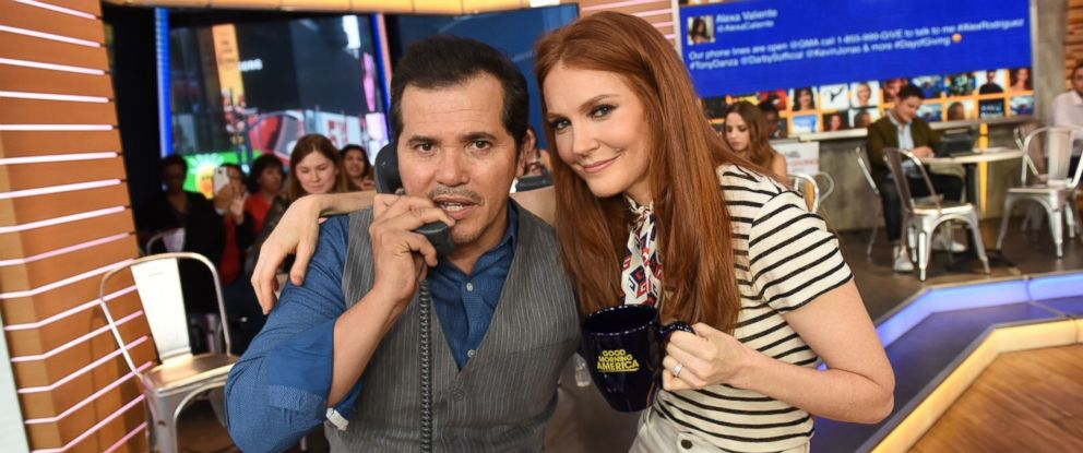 """Bloodline"" actor John Leguizamo and ""Scandal"" star Darby Stanchfield answer phones on ""GMA,"" Aug. 31, 2017, during a live telethon for Disney's Day of Giving to help raise money for the American Red Crosss Hurricane Harvey relief efforts."