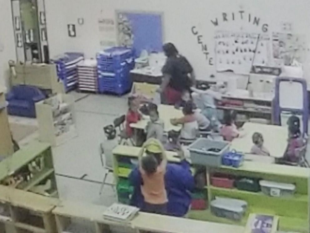 PHOTO: Surveillance video taken from Feb. 1, 2019, at the Brighter Daycare and Preschool in the St. Louis, Missouri, suburb of Pine Lawn shows a worker yanking a 3-year-old girl by the arm and flinging her into a cabinet.