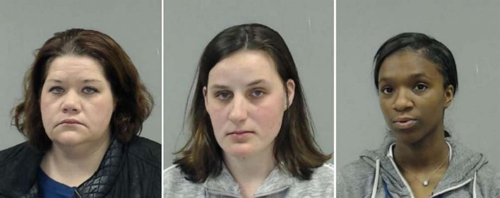 PHOTO: Left to right: Maura Healy, 38, Stephanie Radke, 24, and Mariah Flemister, 20, were arrested and charged with force-feeding infants at a Downers Grove, Ill., day care.