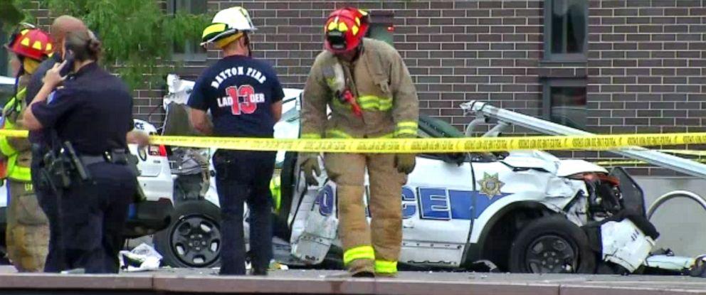 PHOTO: A stabbing suspect crashed a stolen police cruiser in Dayton, Ohio, Aug. 26, 2019.