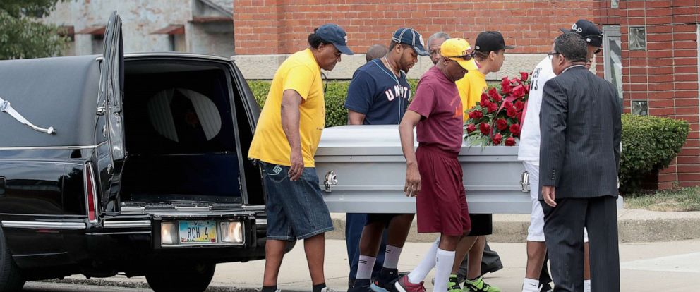 PHOTO: The remains of Derrick Fudge, 57, are carried into St. John Missionary Baptist Church for his visitation and funeral service on August 10, 2019 in Springfield, Ohio.