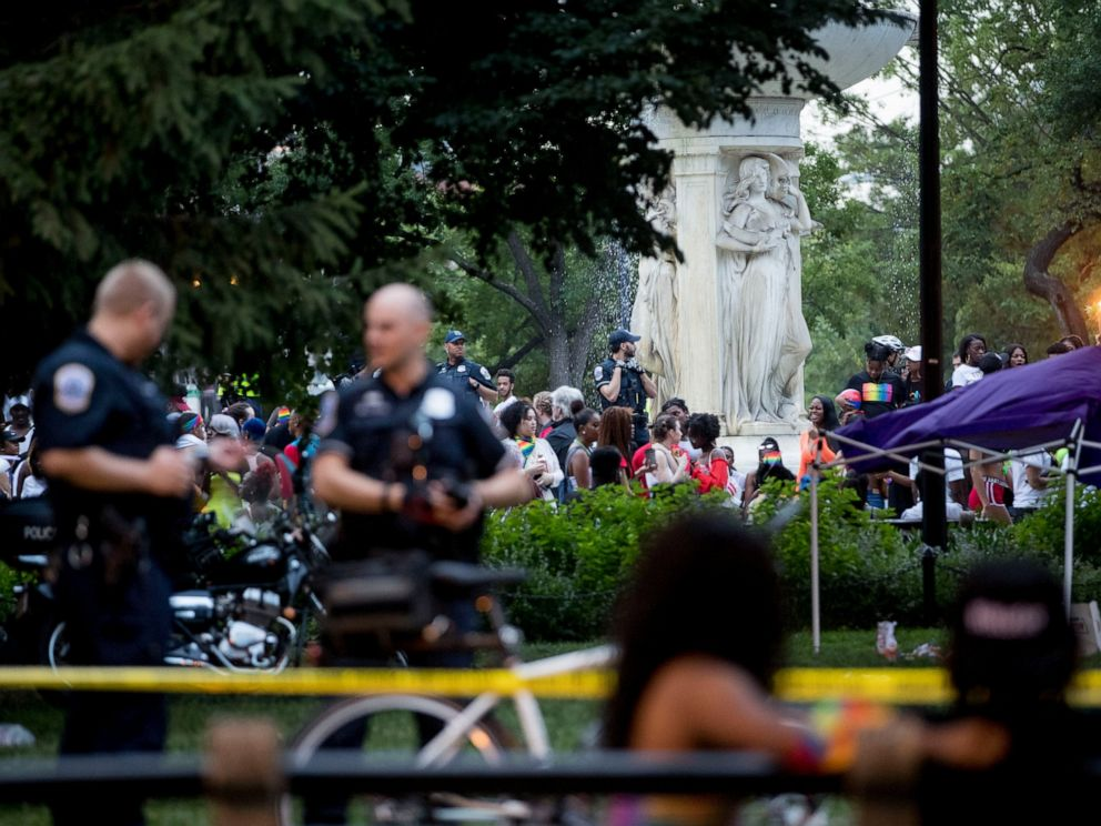 PHOTO: Police keep watch at Dupont Circle at the conclusion of the Capitol Pride Parade in Washington, Saturday, June 8, 2019.